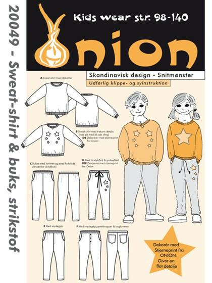 onion 20049, sweat-shirt og buks, strikstof